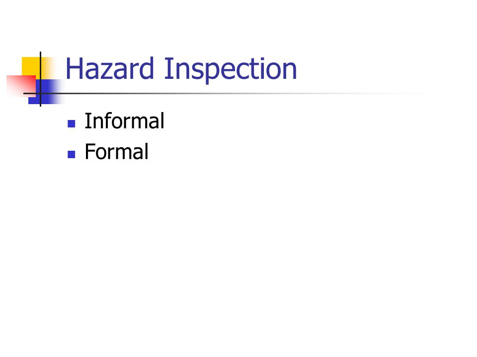 Hazard Inspection Recommendations - Priority Eliminate the hazard Segregate, guard, or protect the hazard Provide and enforce the use of personal protective equipment Provide training and information