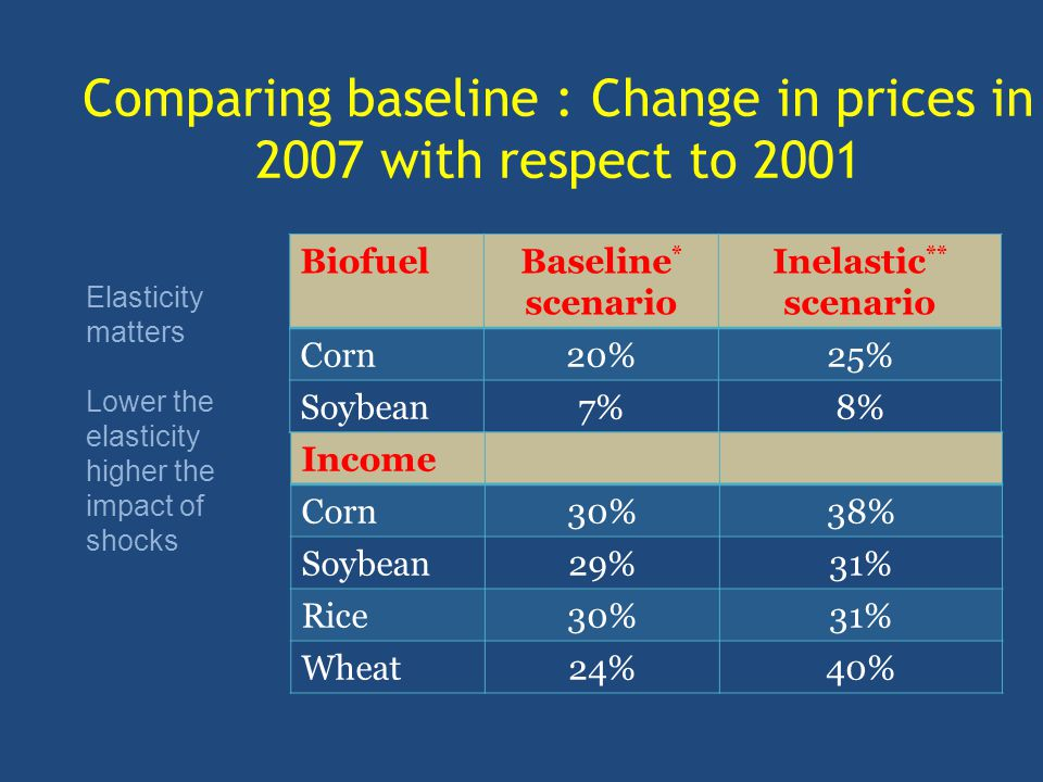 BiofuelBaseline * scenario Inelastic ** scenario Corn20%25% Soybean7%8% Income Corn30%38% Soybean29%31% Rice30%31% Wheat24%40% Comparing baseline : Change in prices in 2007 with respect to 2001 Elasticity matters Lower the elasticity higher the impact of shocks