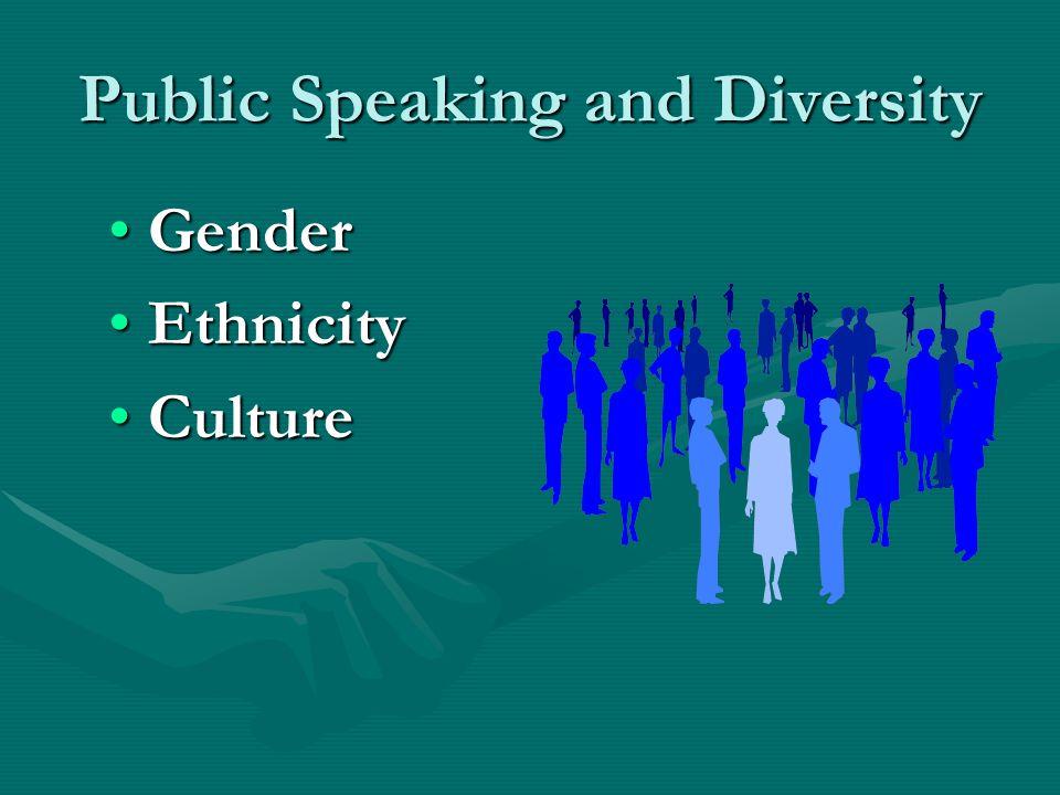 Public Speaking and Diversity GenderGender EthnicityEthnicity CultureCulture