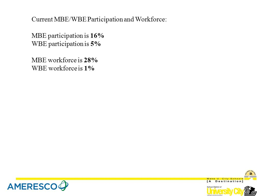 Current MBE/WBE Participation and Workforce: MBE participation is 16% WBE participation is 5% MBE workforce is 28% WBE workforce is 1%