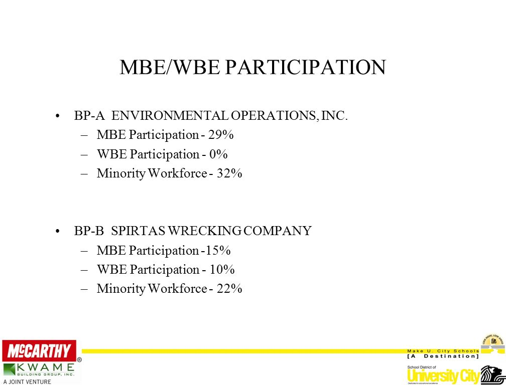 MBE/WBE PARTICIPATION BP-A ENVIRONMENTAL OPERATIONS, INC.