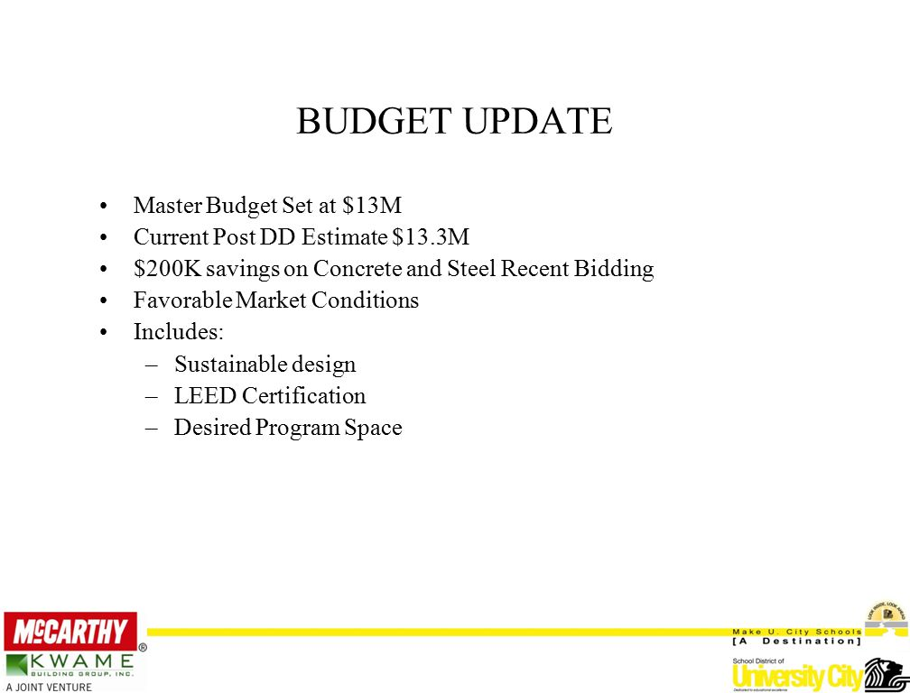 Master Budget Set at $13M Current Post DD Estimate $13.3M $200K savings on Concrete and Steel Recent Bidding Favorable Market Conditions Includes: –Sustainable design –LEED Certification –Desired Program Space BUDGET UPDATE