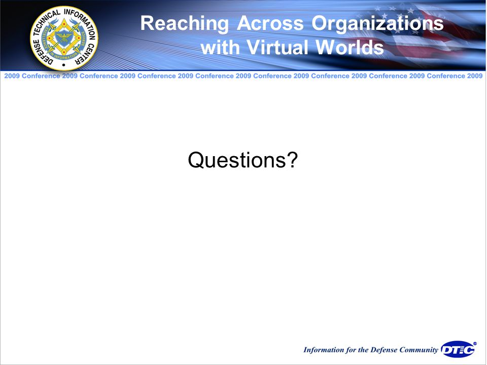 Questions Reaching Across Organizations with Virtual Worlds
