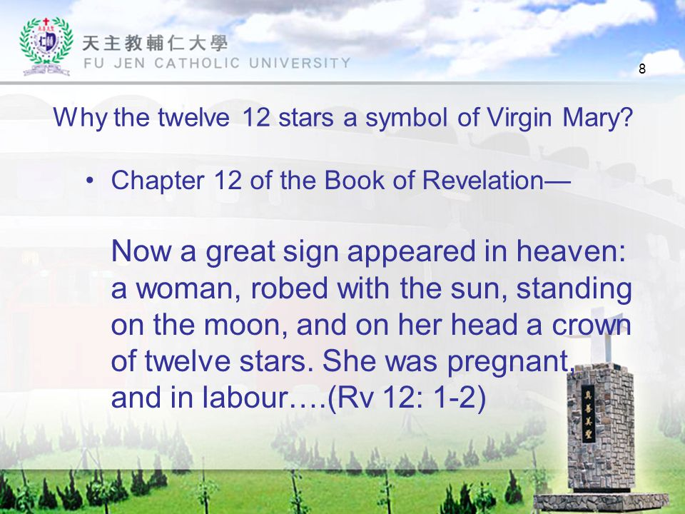8 Why the twelve 12 stars a symbol of Virgin Mary.
