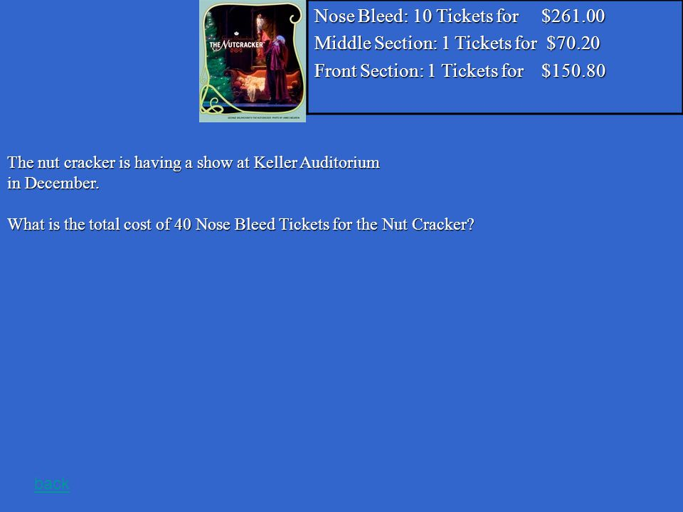Nose Bleed: 10 Tickets for $261.00 Middle Section: 1 Tickets for $70.20 Front Section: 1 Tickets for $150.80 The nut cracker is having a show at Keller Auditorium in December.