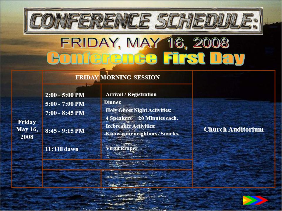 Friday May 16, 2008 FRIDAY MORNING SESSION Church Auditorium 2:00 - 5:00 PM 5:00 - 7:00 PM 7:00 - 8:45 PM 8:45 - 9:15 PM 11:Till dawn -Arrival / Registration Dinner.