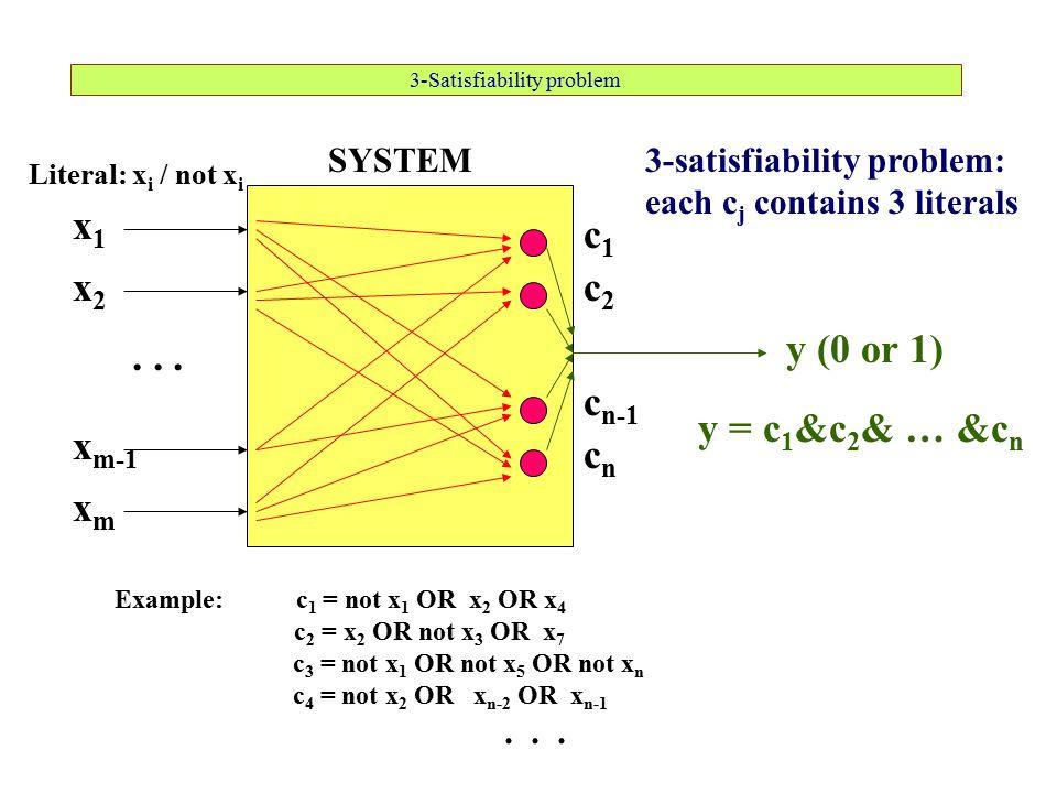 3-Satisfiability problem SYSTEM x1x1 xmxm x m-1 x2x2... y (0 or 1) c1c1 c2c2 c n-1 cncn Example: c 1 = not x 1 OR x 2 OR x 4 c 2 = x 2 OR not x 3 OR x