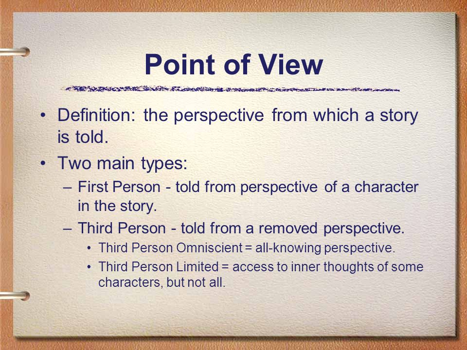 Point of View Definition: the perspective from which a story is told.