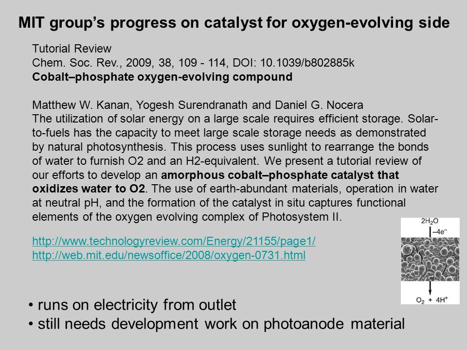 Tutorial Review Chem. Soc. Rev., 2009, 38, 109 - 114, DOI: 10.1039/b802885k Cobalt–phosphate oxygen-evolving compound Matthew W. Kanan, Yogesh Surendr