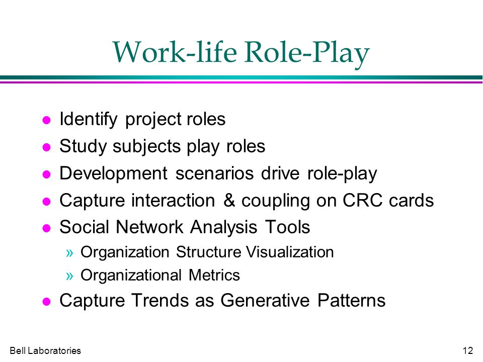 Bell Laboratories12 Work-life Role-Play Identify project roles Study subjects play roles Development scenarios drive role-play Capture interaction & coupling on CRC cards Social Network Analysis Tools »Organization Structure Visualization »Organizational Metrics Capture Trends as Generative Patterns