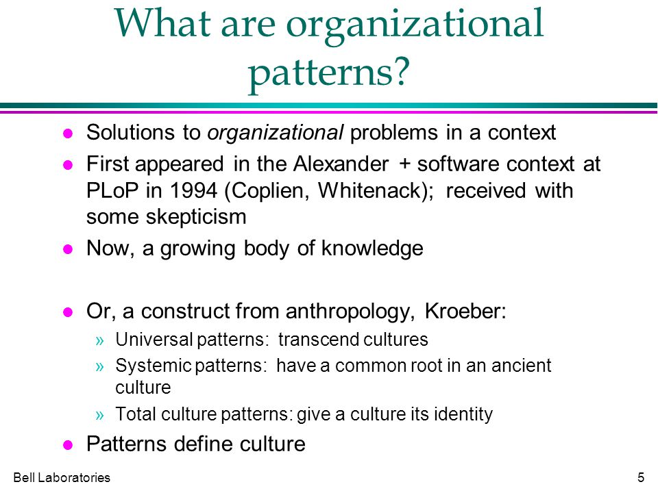 Bell Laboratories5 What are organizational patterns.