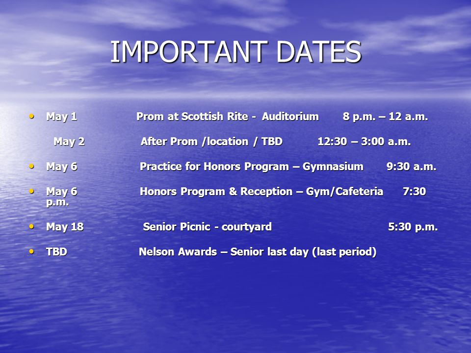 VERY IMPORTANT DATES June 11 MANDATORY -Commencement Practice – Coliseum Main Arena (11:00-1:00) June 11 MANDATORY -Commencement Practice – Coliseum Main Arena (11:00-1:00) Further information will be sent to you in a letter which will be sent to you in April.