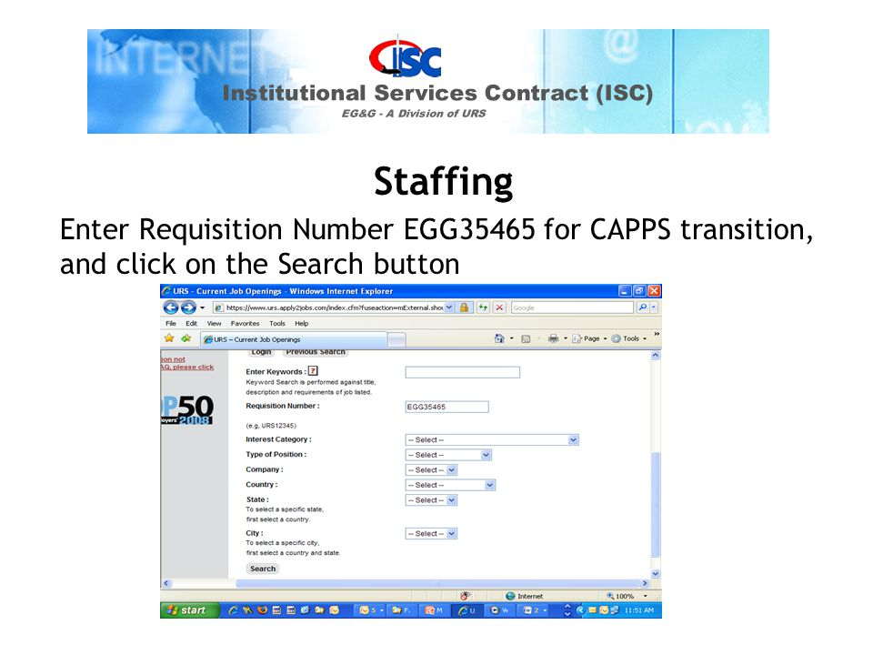Staffing Enter Requisition Number EGG35465 for CAPPS transition, and click on the Search button