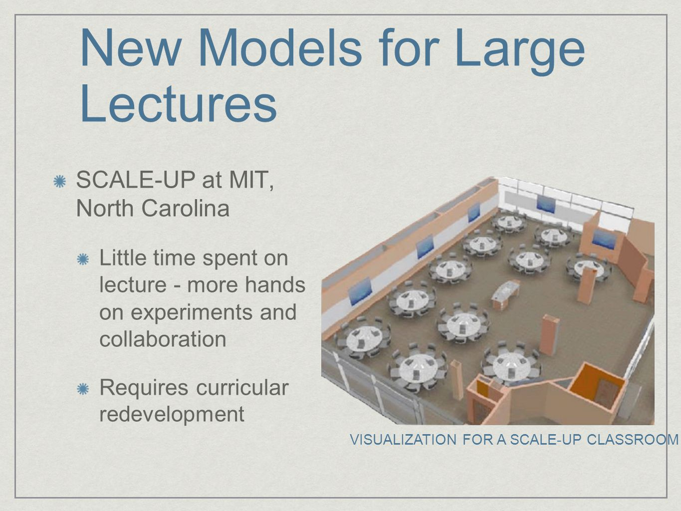 New Models for Large Lectures SCALE-UP at MIT, North Carolina Little time spent on lecture - more hands on experiments and collaboration Requires curricular redevelopment VISUALIZATION FOR A SCALE-UP CLASSROOM