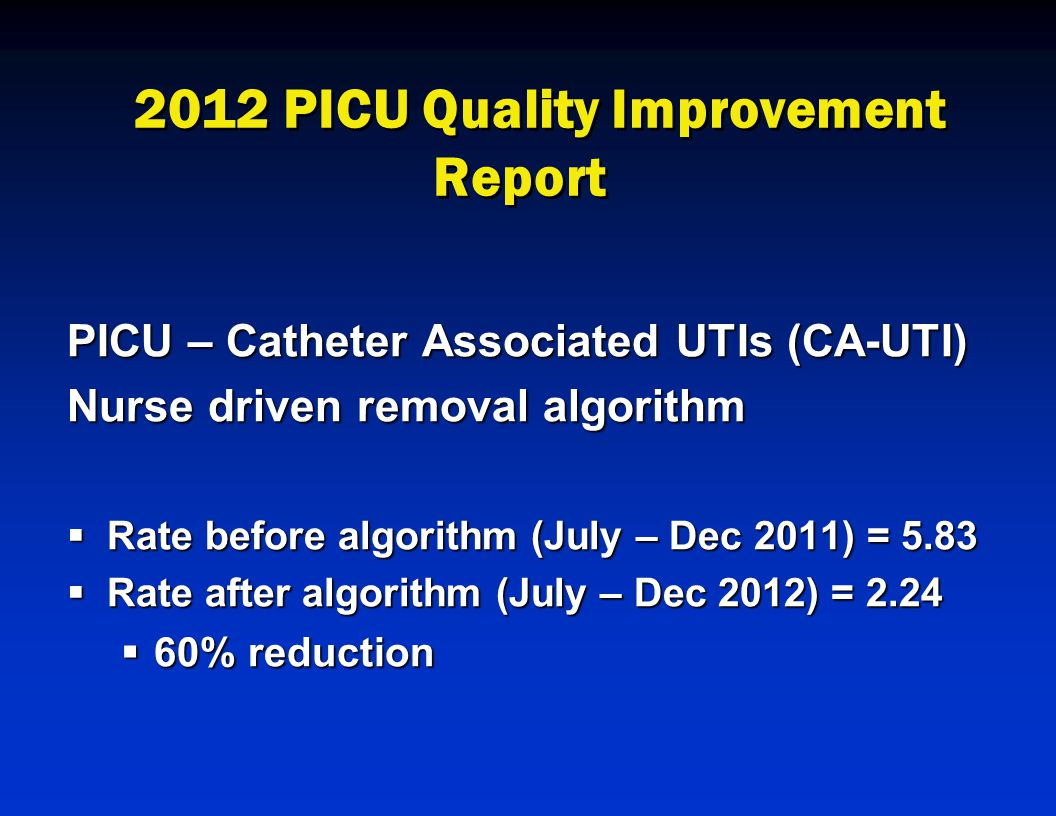 2012 PICU Quality Improvement Report PICU – Catheter Associated UTIs (CA-UTI) Nurse driven removal algorithm  Rate before algorithm (July – Dec 2011) = 5.83  Rate after algorithm (July – Dec 2012) = 2.24  60% reduction