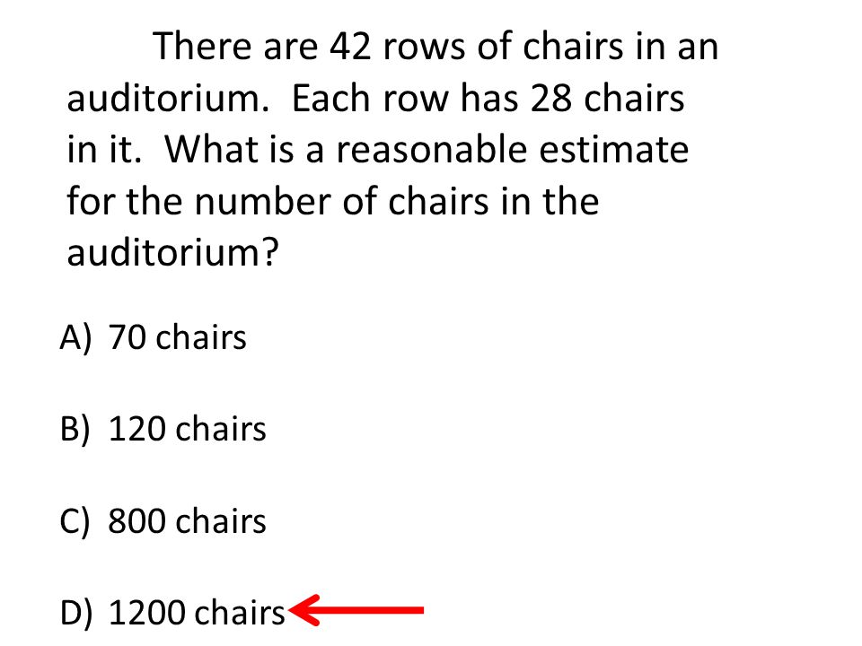 There are 42 rows of chairs in an auditorium. Each row has 28 chairs in it.