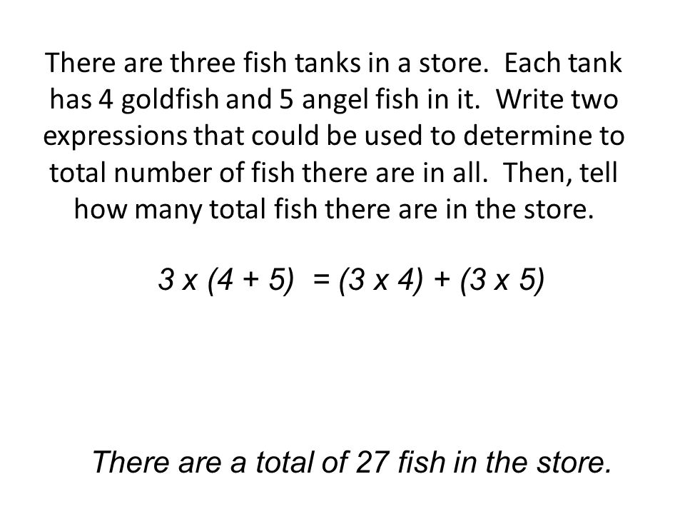 There are three fish tanks in a store. Each tank has 4 goldfish and 5 angel fish in it.