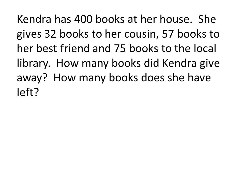 Kendra has 400 books at her house.