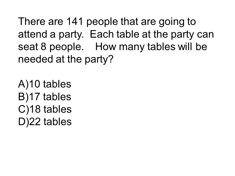 There are 141 people that are going to attend a party.