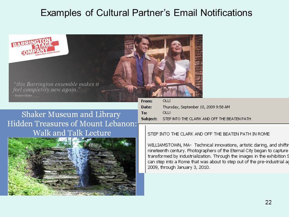 22 Examples of Cultural Partner's Email Notifications Flyer from Berkshire Museum