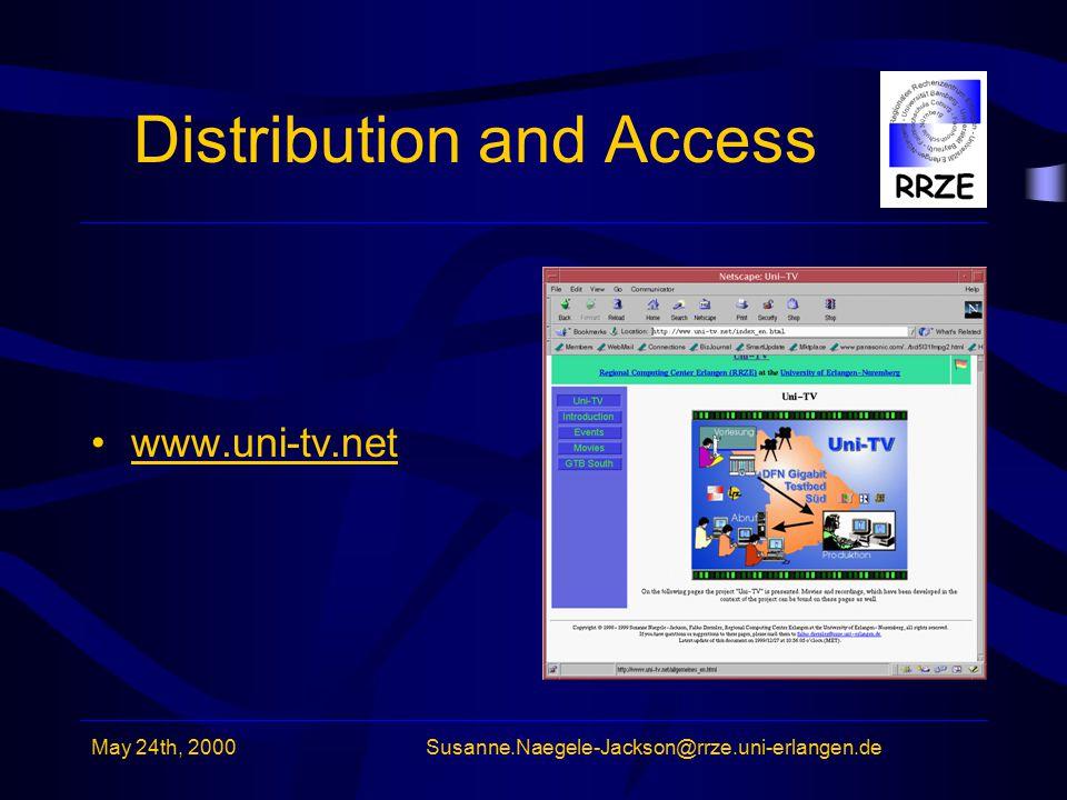 May 24th, 2000Susanne.Naegele-Jackson@rrze.uni-erlangen.de Distribution and Access www.uni-tv.net