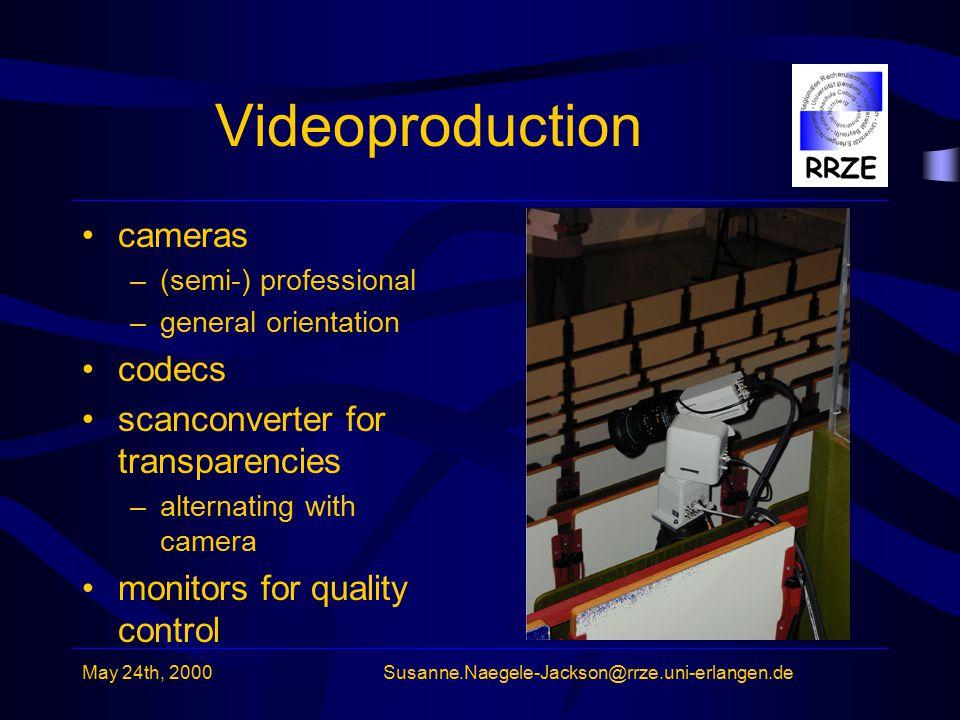May 24th, 2000Susanne.Naegele-Jackson@rrze.uni-erlangen.de Videoproduction cameras –(semi-) professional –general orientation codecs scanconverter for transparencies –alternating with camera monitors for quality control