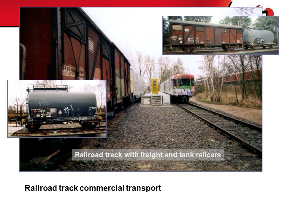 Railroad track with freight and tank railcars Railroad track commercial transport