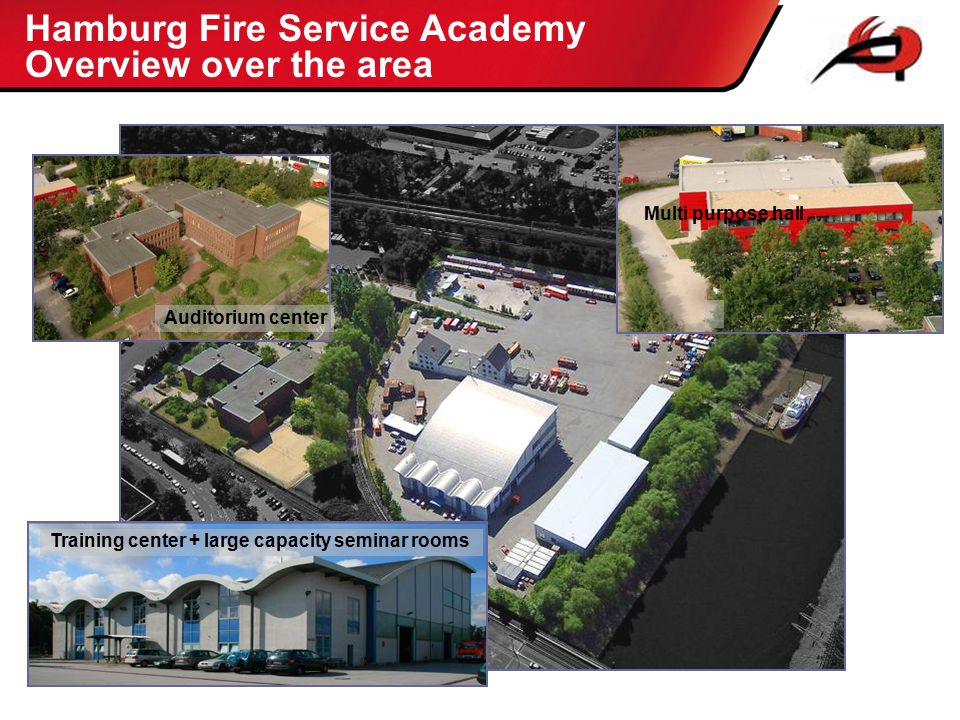 Hamburg Fire Service Academy Overview over the area Auditorium center Training center + large capacity seminar rooms Multi purpose hall