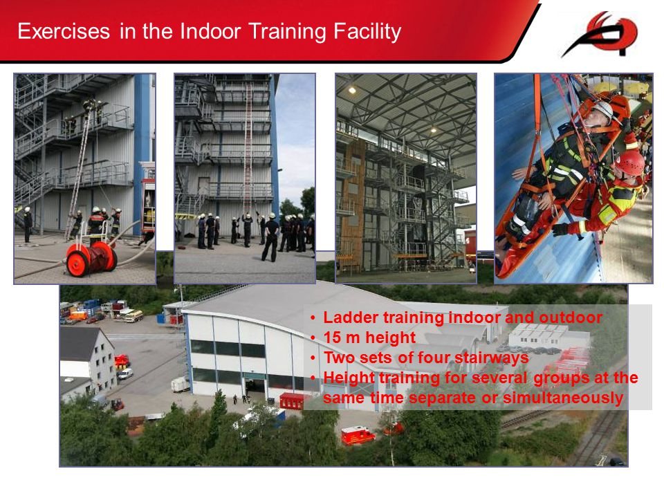 Exercises in the Indoor Training Facility Ladder training indoor and outdoor 15 m height Two sets of four stairways Height training for several groups at the same time separate or simultaneously