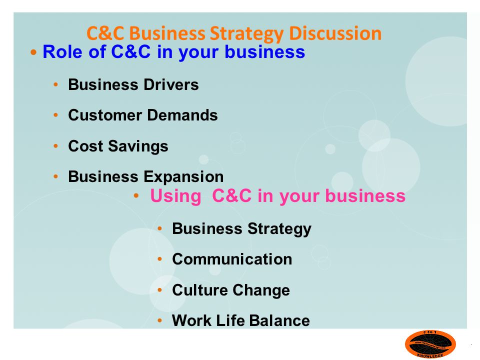 C&C Business Strategy Discussion Role of C&C in your business Business Drivers Customer Demands Cost Savings Business Expansion Using C&C in your business Business Strategy Communication Culture Change Work Life Balance