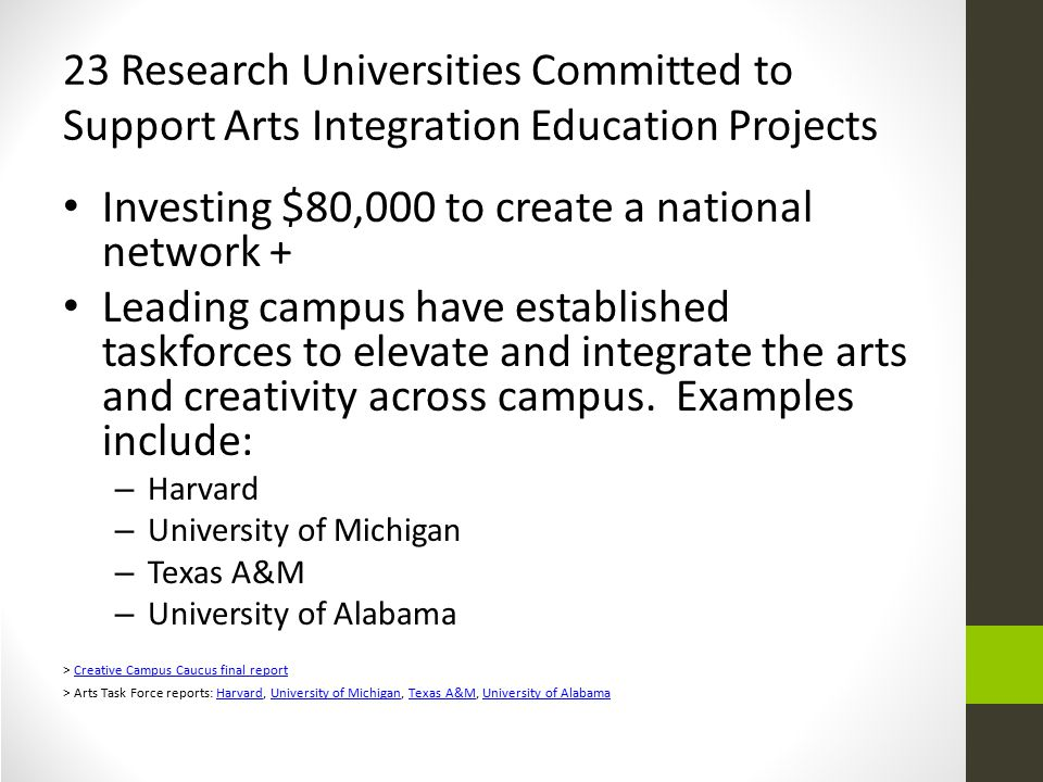 23 Research Universities Committed to Support Arts Integration Education Projects Investing $80,000 to create a national network + Leading campus have established taskforces to elevate and integrate the arts and creativity across campus.