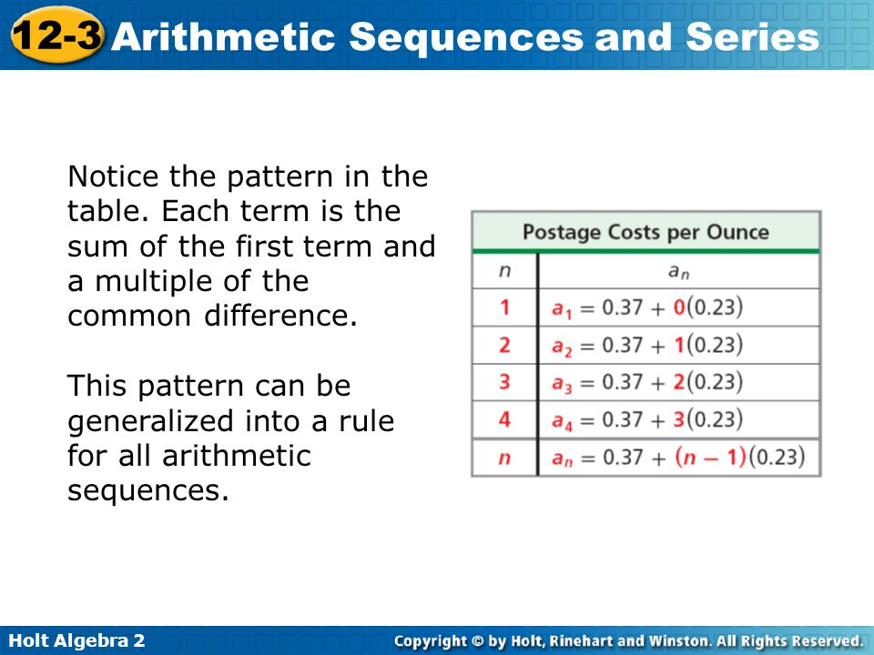 Holt Algebra 2 12-3 Arithmetic Sequences and Series Notice the pattern in the table. Each term is the sum of the first term and a multiple of the comm