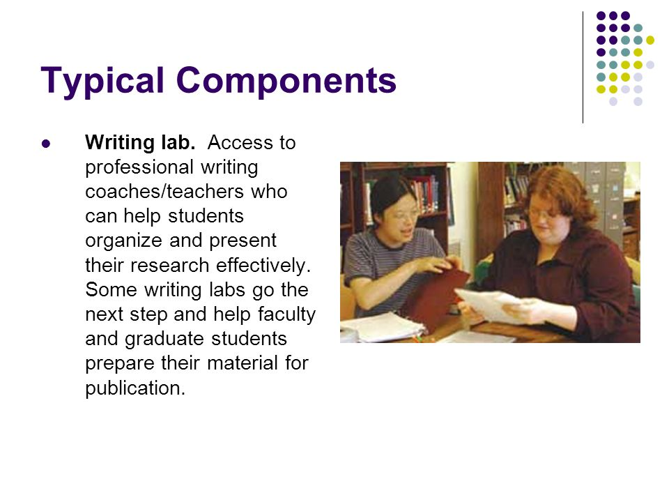 Typical Components Writing lab. Access to professional writing coaches/teachers who can help students organize and present their research effectively.