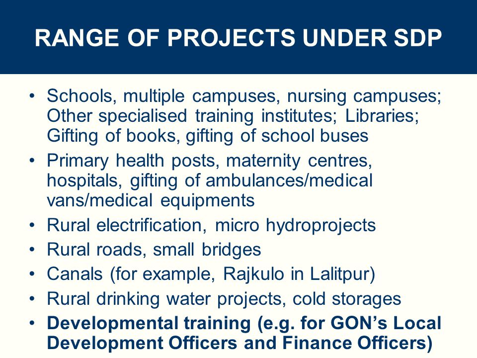 SMALL DEVELOPMENT PROJECT (SDP) PROGRAMME SOME STATISTICS : No.