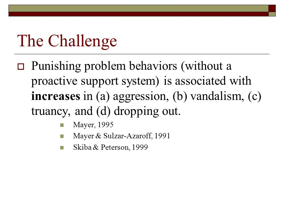 The Challenge  Punishing problem behaviors (without a proactive support system) is associated with increases in (a) aggression, (b) vandalism, (c) tr