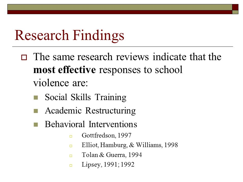 Research Findings  The same research reviews indicate that the most effective responses to school violence are: Social Skills Training Academic Restr