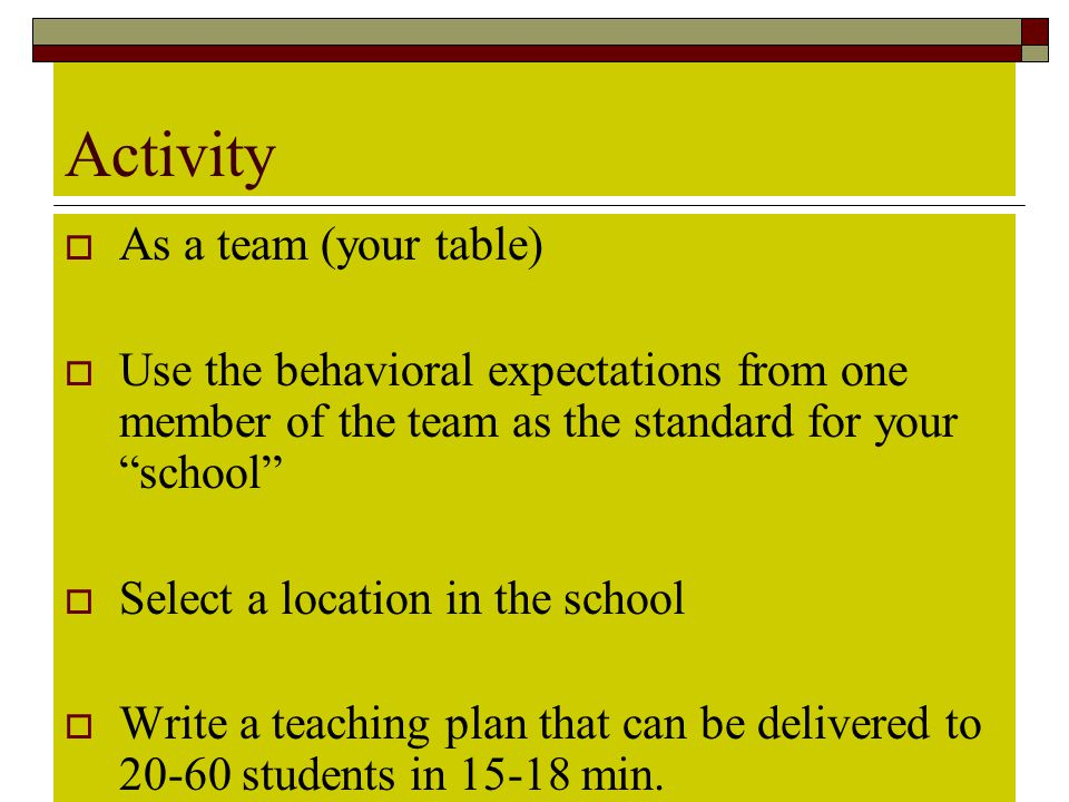 """Activity  As a team (your table)  Use the behavioral expectations from one member of the team as the standard for your """"school""""  Select a location"""