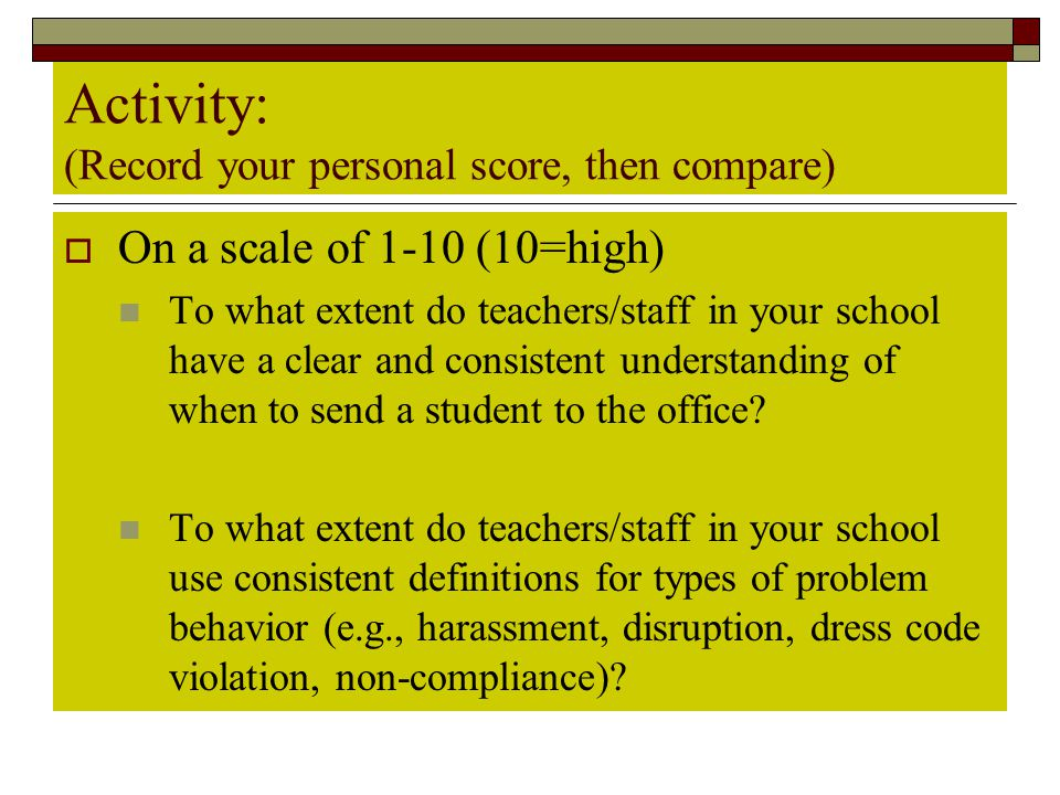 Activity: (Record your personal score, then compare)  On a scale of 1-10 (10=high) To what extent do teachers/staff in your school have a clear and c