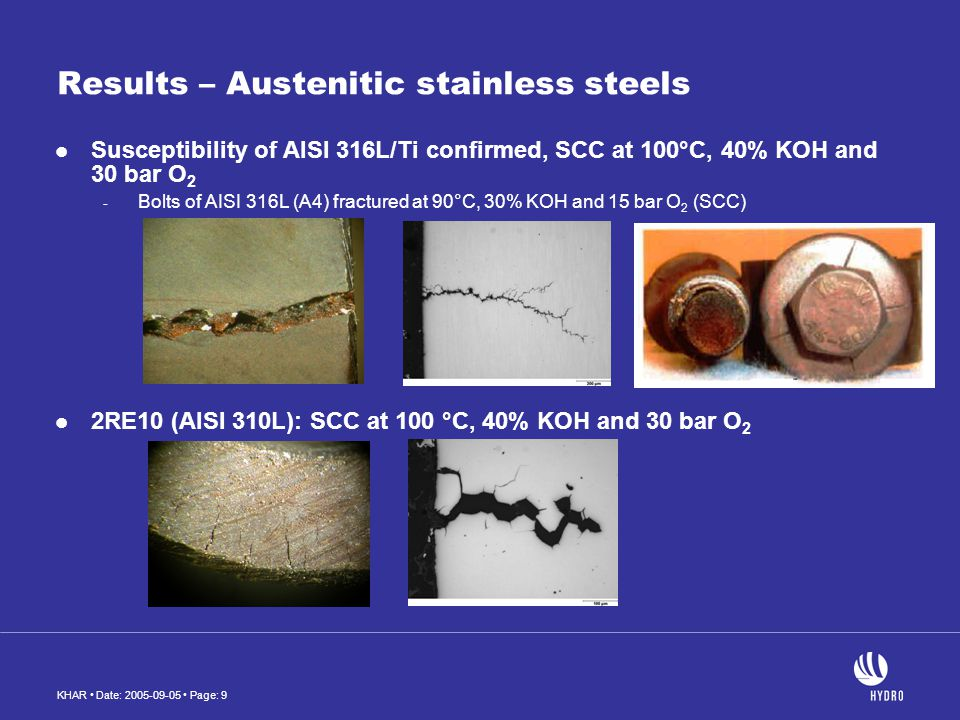 KHAR Date: 2005-09-05 Page: 10 Results – Austenitic stainless steels (continue) 2RK65 (904L): SCC at 100 and 120 °C, 40% KOH and 30 bar O 2 Alloy 28 showed no cracking at 90°C, 30% KOH and 15 bar O 2