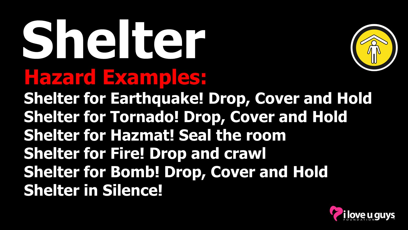 Shelter Hazard Examples: Shelter for Earthquake.Drop, Cover and Hold Shelter for Tornado.