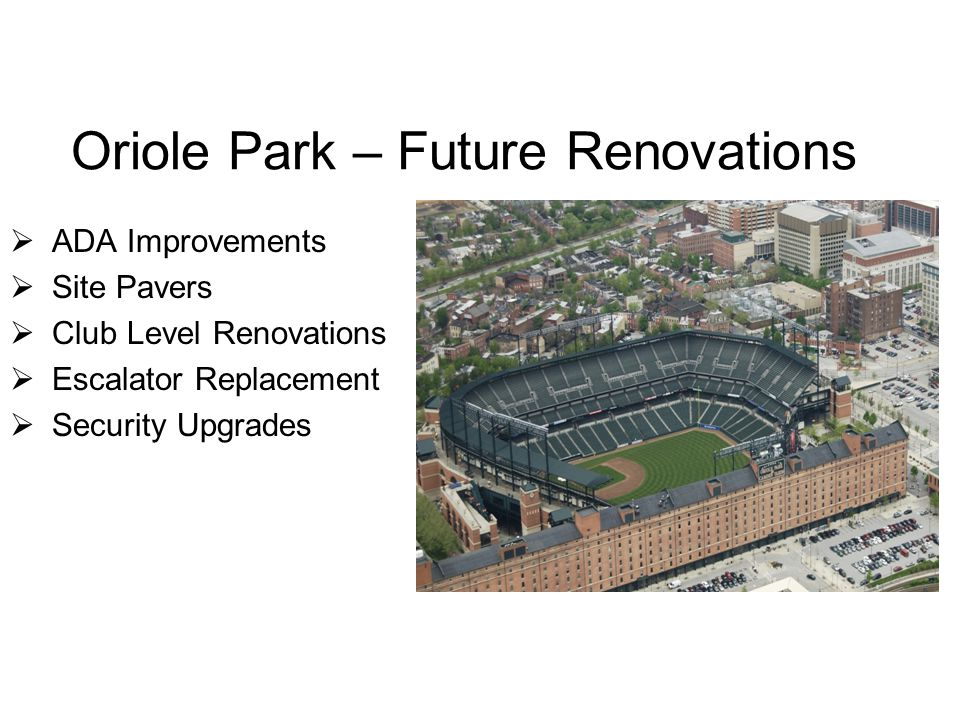 Oriole Park – Future Renovations  ADA Improvements  Site Pavers  Club Level Renovations  Escalator Replacement  Security Upgrades