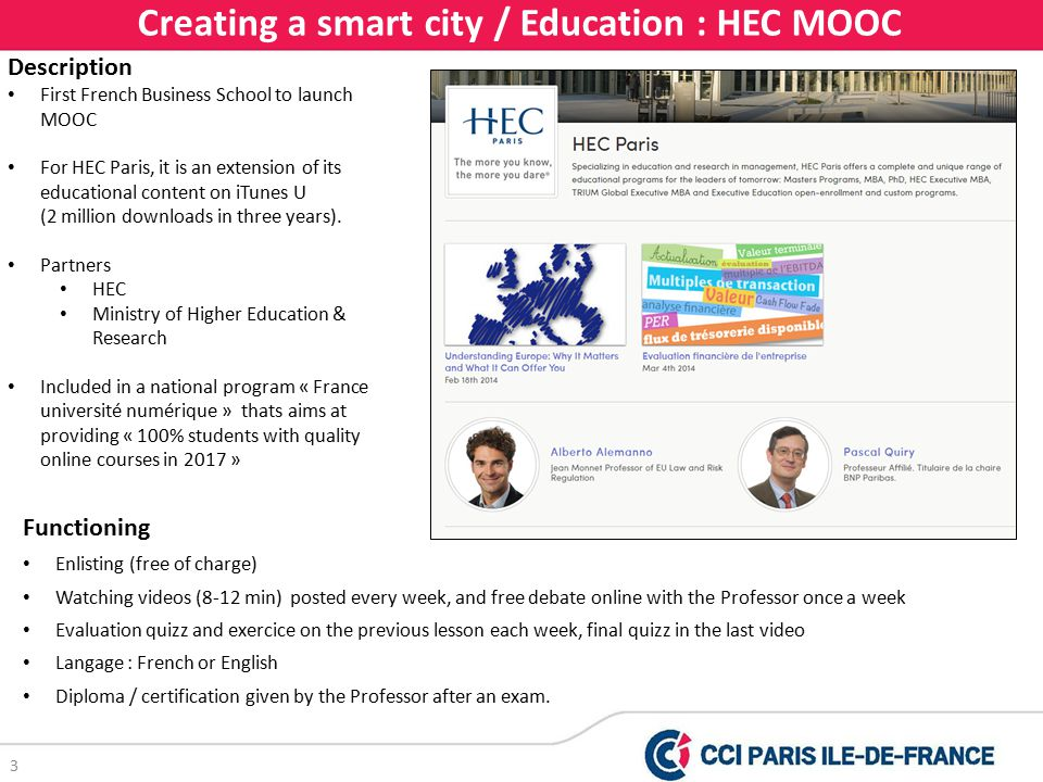 3 Creating a smart city / Education : HEC MOOC Description First French Business School to launch MOOC For HEC Paris, it is an extension of its educational content on iTunes U (2 million downloads in three years).