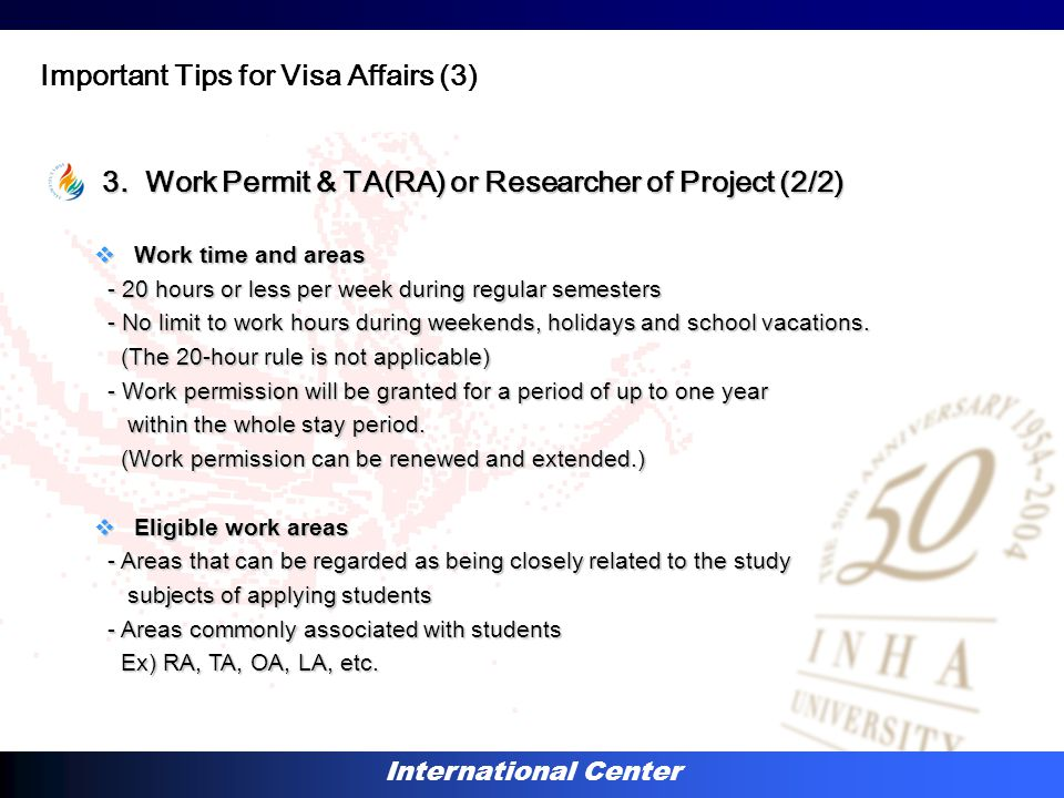 International Center 3. Work Permit & TA(RA) or Researcher of Project (2/2) 3.