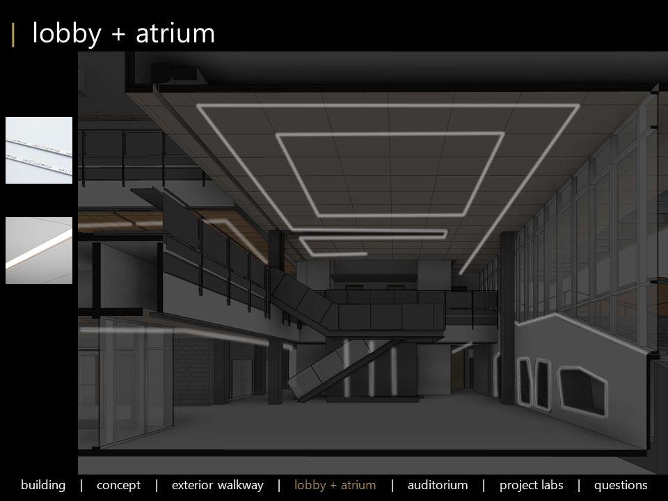 | lobby + atrium building | concept | exterior walkway | lobby + atrium | auditorium | project labs | questions