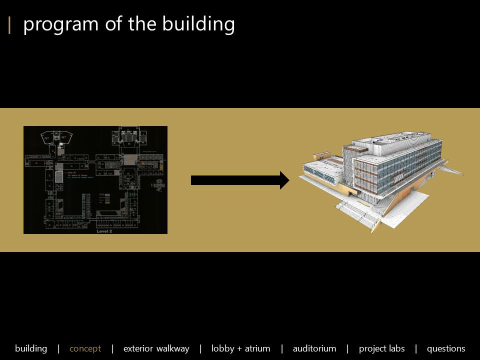 | program of the building building | concept | exterior walkway | lobby + atrium | auditorium | project labs | questions