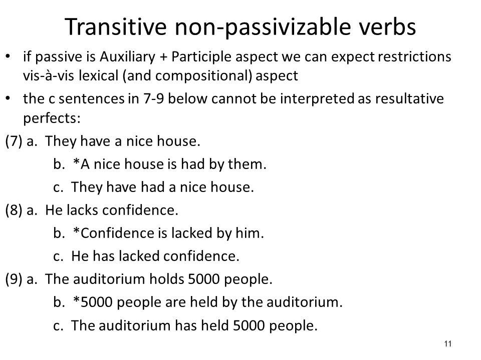 11 Transitive non-passivizable verbs if passive is Auxiliary + Participle aspect we can expect restrictions vis-à-vis lexical (and compositional) aspe