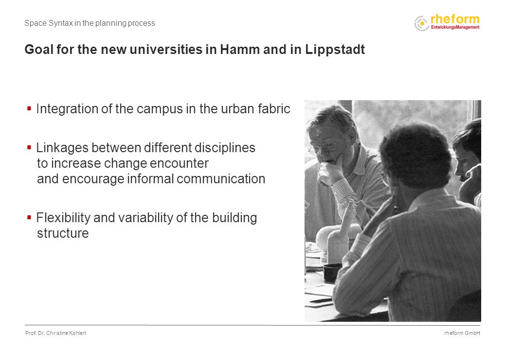 rheform GmbH Prof. Dr. Christine Kohlert Goal for the new universities in Hamm and in Lippstadt  Integration of the campus in the urban fabric  Link