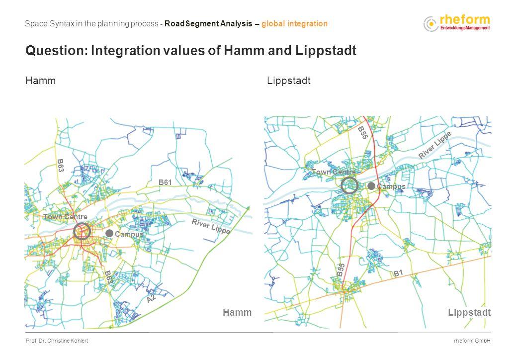 rheform GmbH Prof. Dr. Christine Kohlert Question: Integration values of Hamm and Lippstadt Hamm Lippstadt Campus B1 B55 A2 B63 B61 Campus Town Centre