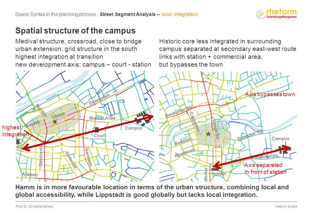 rheform GmbH Prof. Dr. Christine Kohlert Spatial structure of the campus Medival structure, crossroad, close to bridge urban extension: grid structure