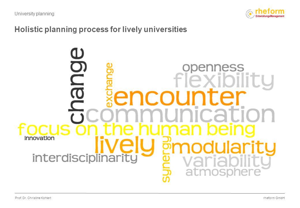 rheform GmbH Prof. Dr. Christine Kohlert Holistic planning process for lively universities University planning